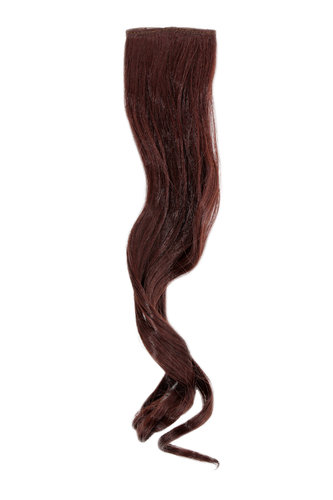 1 x Two Clip Clip-In extension strand curled wavy 3,5 inch wide, 18 inches long light dark auburn