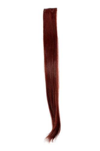 1 x Two Clip Clip-In extension strand highlight straight 3,5 inch wide, 25 inches long dark red