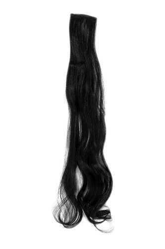 1 x Two Clip Clip-In extension strand curled wavy 3,5 inch wide, 25 inches long deep black