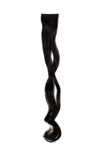 1 x Two Clip Clip-In extension strand curled wavy 3,5 inch wide, 25 inches long medum black