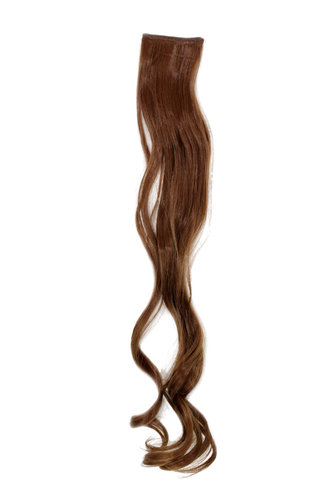 1 x Two Clip Clip-In extension strand curled wavy 3,5 inch wide, 25 inches long light ash brown