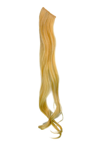 1 x Two Clip Clip-In extension strand curled wavy 3,5 inch wide, 25 inches long platinum blond