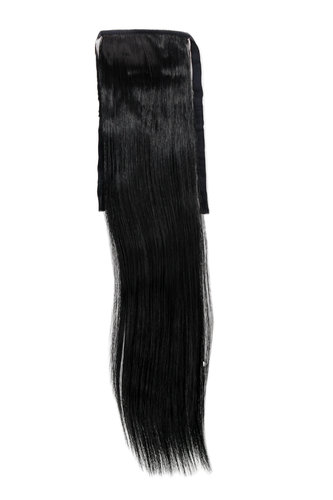 YZF-TS18-1 Hairpiece Pontail Pigtail extension slim light straight comb and ribbon deep black 18""