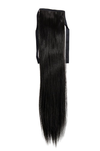 YZF-TS18-2 Hairpiece Pontail Pigtail extension slim light straight comb and ribbon medium black 18""