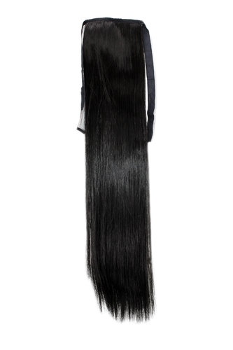 YZF-TS18-3 Hairpiece Pontail Pigtail extension slim light straight comb and ribbon dark brown