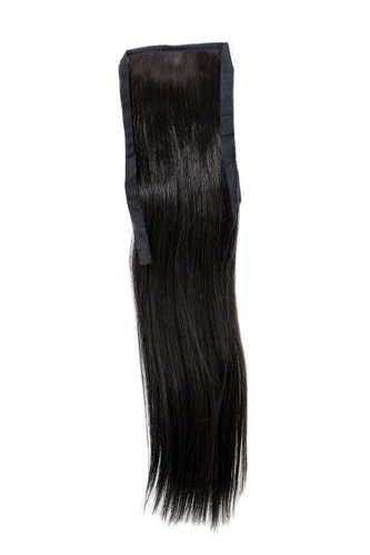 YZF-TS18-4 Hairpiece Pontail Pigtail extension slim light straight comb and ribbon dark brown