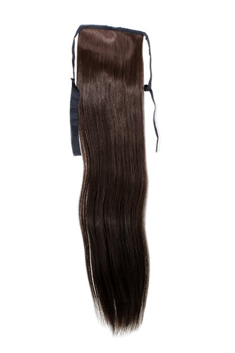 Hairpiece Pontail extension slim light straight comb & ribbon dark to medium chocolate brown