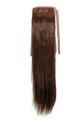 YZF-TS18-8 Hairpiece Pontail Pigtail extension slim light straight comb and ribbon medium brown