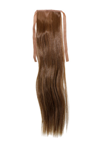 Hairpiece Pontail Pigtail extension slim light straight comb and ribbon medium brown 18""