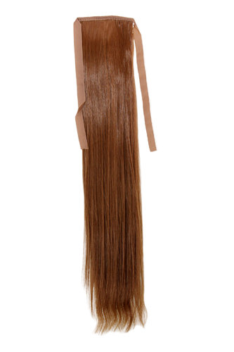 Hairpiece Pontail Pigtail extension slim light straight comb and ribbon light ash brown 18""