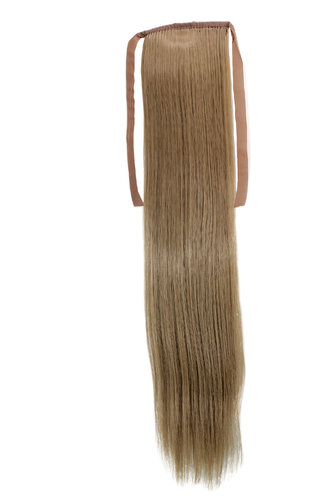Hairpiece Pontail Pigtail extension slim light straight comb and ribbon dark ash blond 18""