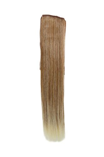 Hairpiece Pontail extension slim light straight strawberry blond mix streaked platinum highlights