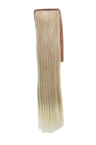 Hairpiece Pontail extension slim light straight light ash blond mix streaked platinum highlights