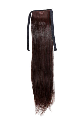 Hairpiece Pontail Pigtail extension slim light straight comb and ribbon mahogany brown mix 18""