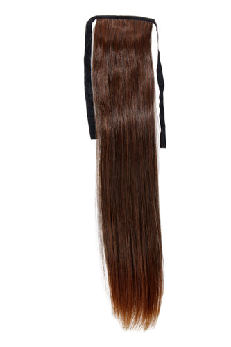 Hairpiece Pontail Pigtail extension slim light straight comb and ribbon chestnut brown mix 18""