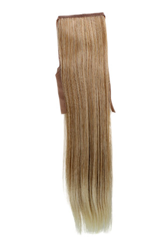 Hairpiece Pontail extension slim light straight strawberry blond mix streaked 18""