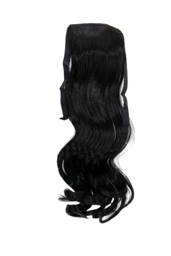YZF-TC18-1 Hairpiece Pontail Pigtail extension slim light wavy comb and ribbon deep black 18""