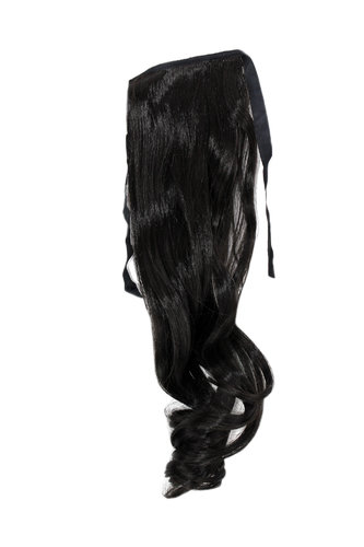 YZF-TC18-2 Hairpiece Pontail Pigtail extension slim light wavy comb and ribbon medium black 18""
