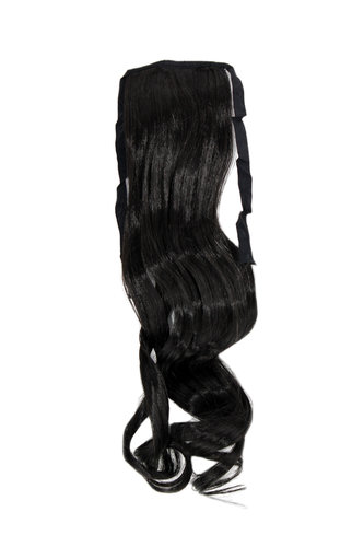 YZF-TC18-3 Hairpiece Pontail Pigtail extension slim light wavy comb and ribbon dark brown