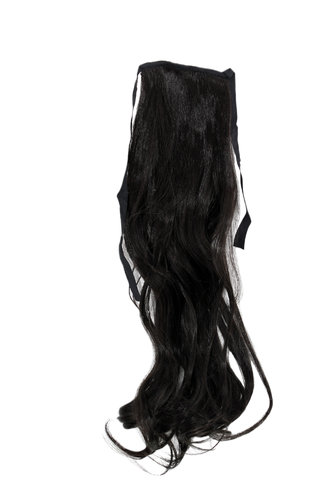 YZF-TC18-4 Hairpiece Pontail Pigtail extension slim light wavy comb and ribbon dark brown