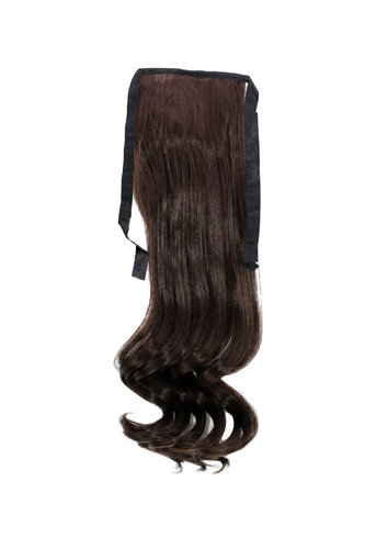 Hairpiece Pontail Pigtail extension slim light wavy comb and ribbon dark to medium chocolate brown
