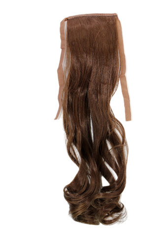 YZF-TC18-8 Hairpiece Pontail Pigtail extension slim light wavy comb and ribbon medium brown