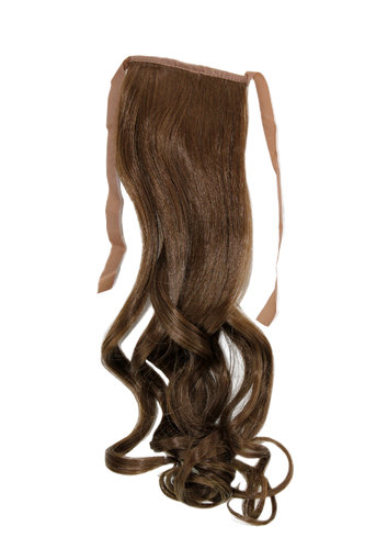 YZF-TC18-10 Hairpiece Pontail Pigtail extension slim light wavy comb and ribbon medium brown 18""
