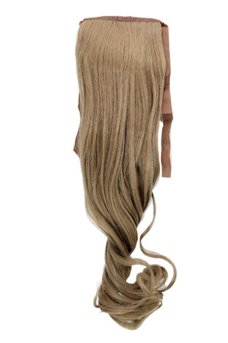 YZF-TC18-16 Hairpiece Pontail Pigtail extension slim light wavy comb and ribbon dark ash blond 18""