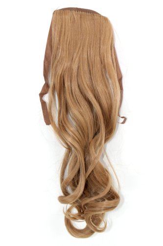 YZF-TC18-18 Hairpiece Pontail Pigtail extension slim light wavy comb and ribbon dark blond 18""