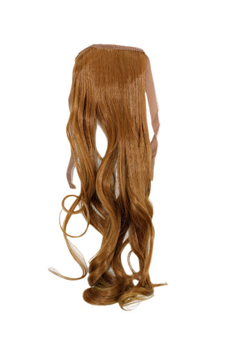 Hairpiece Pontail Pigtail extension slim light wavy comb and ribbon strawberry blond 18""