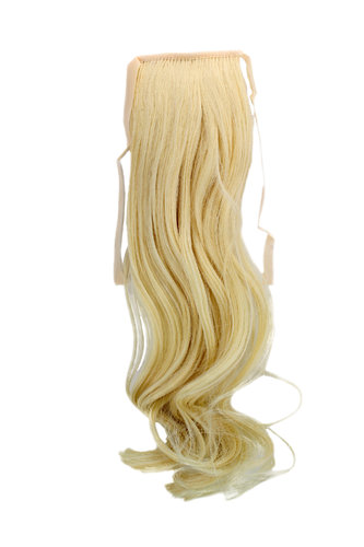 YZF-TC18-88 Hairpiece Pontail Pigtail extension slim light wavy comb and ribbon bright blond