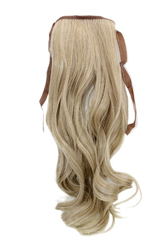 Hairpiece Pontail extension slim light wavy light ash blond mix streaked platinum highlights 18""