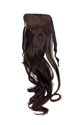 Hairpiece Pontail Pigtail extension slim light wavy comb and ribbon mahogany brown mix 18""
