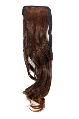 Hairpiece Pontail Pigtail extension slim light wavy comb and ribbon chestnut brown mix 18""