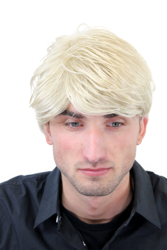 Men's WIG (for Men or Unisex) HIGH QUALITY synthetic short BRIGHT BLOND youthful young look Man
