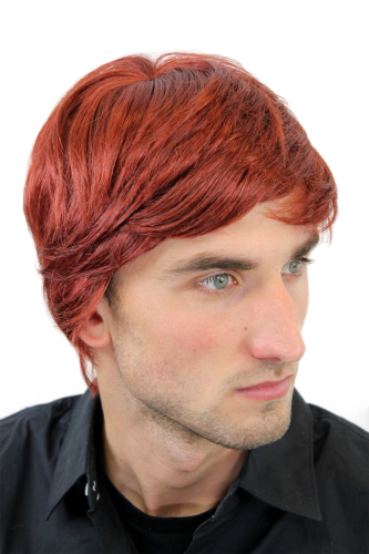 Men's WIG (for Men or Unisex) HIGH QUALITY synthetic short RED REDDISH youthful young look Man