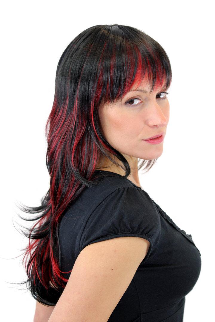 Perucke Schwarz Rot Glatt Strahnen Gfw824 131y