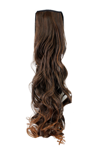 Hairpiece PONYTAIL (comb & ribbon wrap-around system) extension pigtail long slightly CURLED BROWN