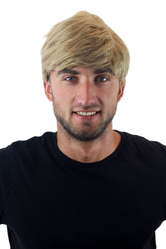 "GFW1168-24 Quality Wig for Men Gents short youthful casual combed to side ash blond 8"" inch"