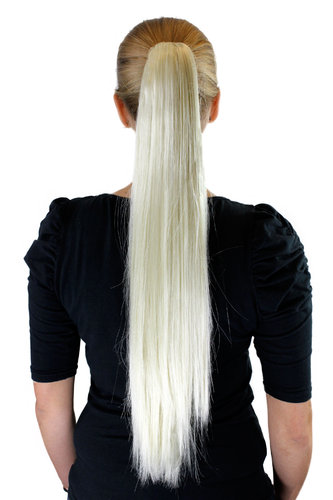 XF-6464-613 Ponytail Hairpiece extension very long straight platinum blond 25""