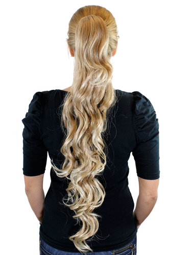 Ponytail Hairpiece extension extremely long waved wavy blond mix platinum & tips claw clamp 29""
