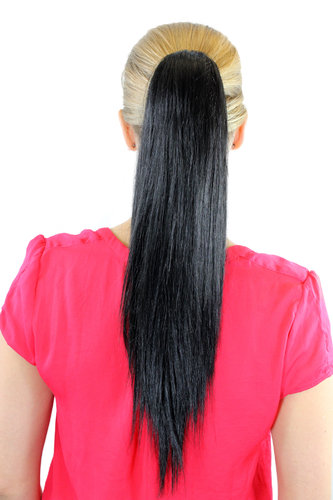 112-1B Ponytail Hairpiece extension long straight black 20""
