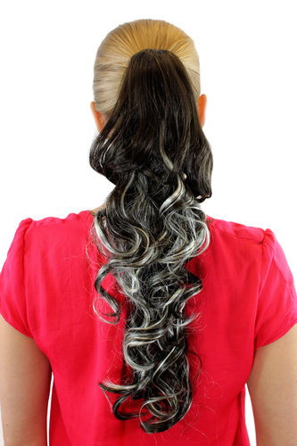 Ponytail Hairpiece extension long curled curls brown streaked wuth blond highlight buttterfly 20""