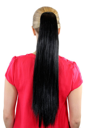 XF-6464-2 Ponytail Hairpiece extension very long straight medium black 25""