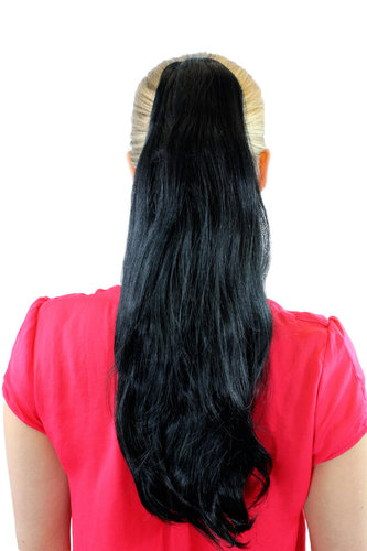 T-15-1 Ponytail Hairpiece extension straight bouncing wavy tips voluminous black 18""