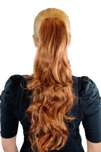 JL-0082-30 Ponytail Hairpiece extension long wavy layered light copper brown 20""