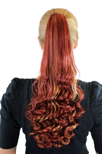 Ponytail Hairpiece extension long curled curls claw clamp dark copper red streaked with blond 19""
