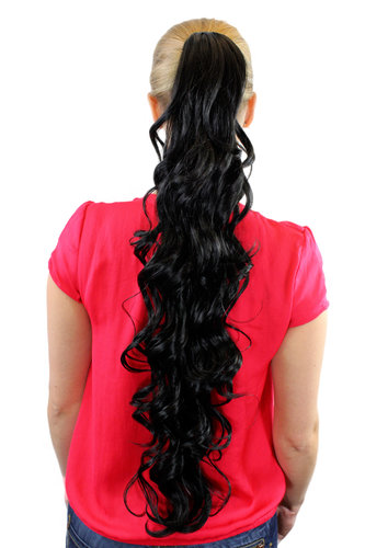 JL-4017-1B Ponytail Hairpiece extension extremely long waved wavy velvet black claw clamp 29""