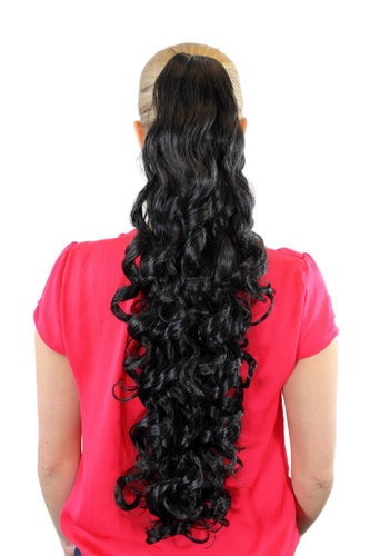 JL-3112-1B Ponytail Hairpiece extension extremely long volume curled curls black claw clamp 27""