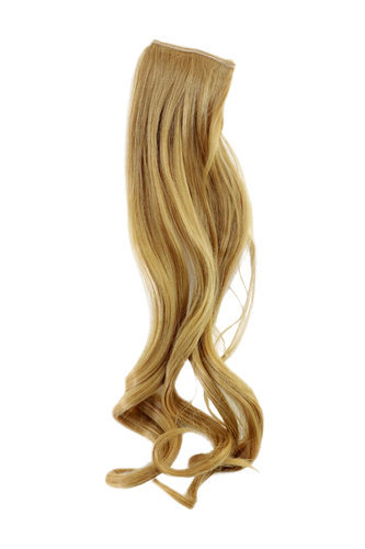 1 x Two Clip Clip-In extension strand highlight curled wavy long light blond